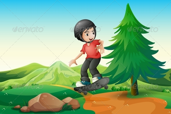 GraphicRiver Boy Skateboarding on Hilltop 7996965