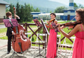 Girl Violinist and Bassist Guy Play Outdoors - PhotoDune Item for Sale