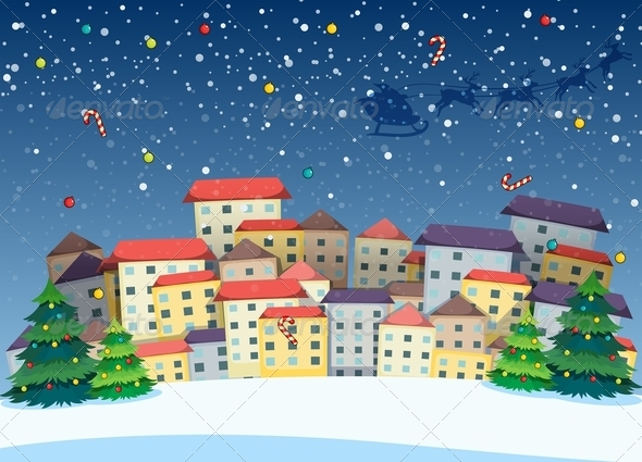 GraphicRiver Village with Christmas Trees 7997553