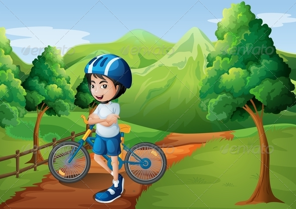 GraphicRiver Boy standing on a Forest Path with Bike 7997681