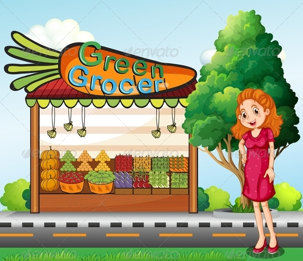 GraphicRiver Woman in front of a Green Grocer Stall 7997700