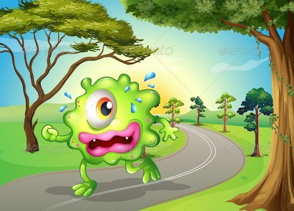 GraphicRiver Monster Jogging on Road 7997702