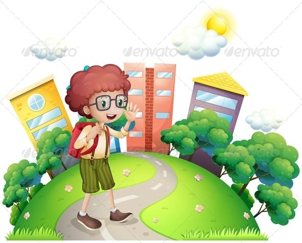 GraphicRiver Boy Walking to School 7997706