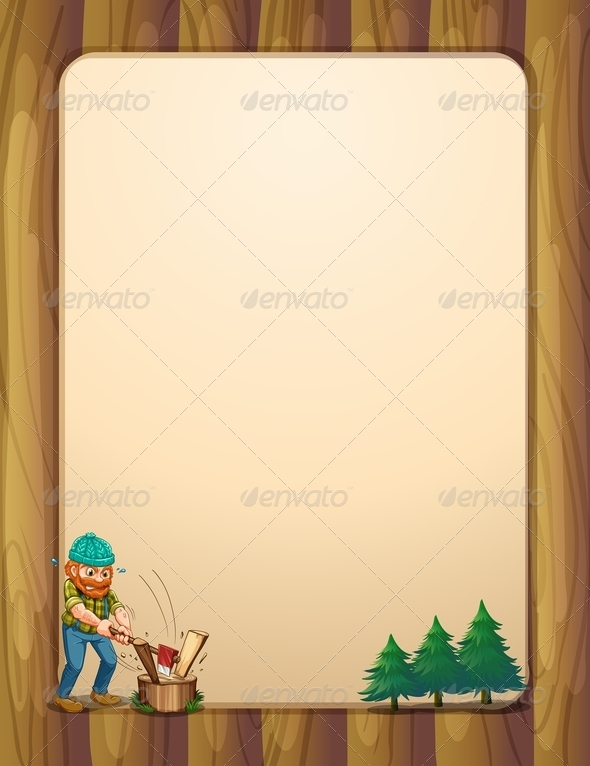 Lumberjack with Wooden Template