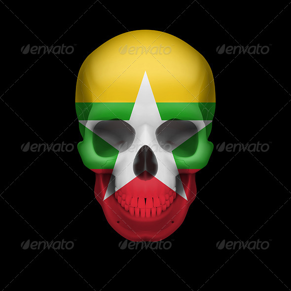 GraphicRiver Myanmar Flag Skull 7997905