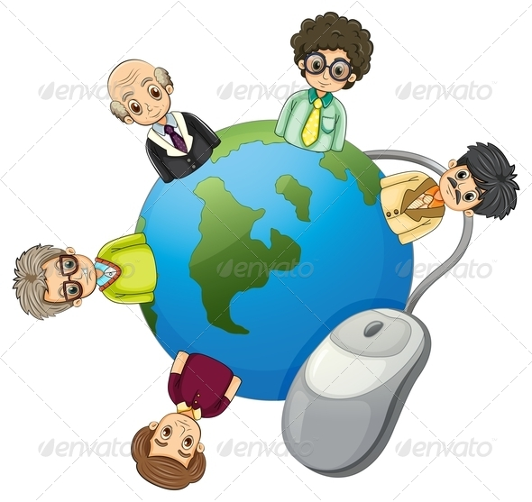 GraphicRiver Businessmen around a Globe 7998255