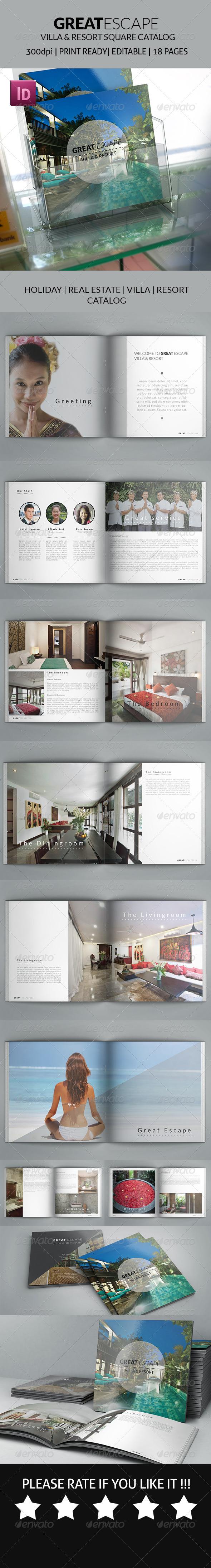 GraphicRiver Great Escape Villas and Resort Square Catalog 7998387