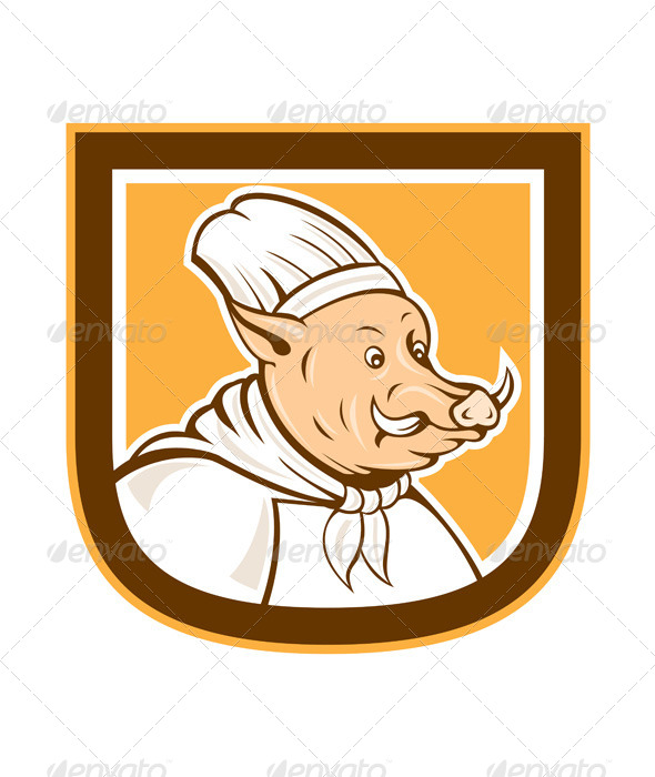 Boar Chef Cook Shield Cartoon