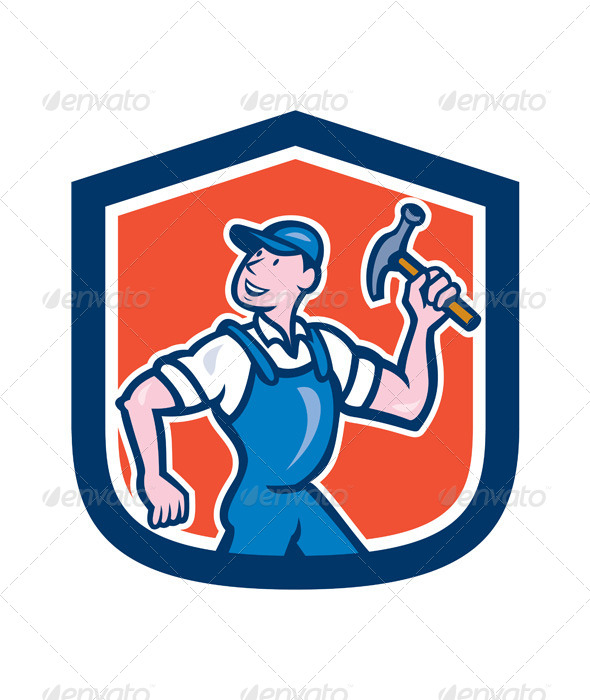 GraphicRiver Builder Carpenter Holding Hammer Cartoon 7998619