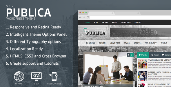 Publica Responsive WordPress Theme - News / Editorial Blog / Magazine