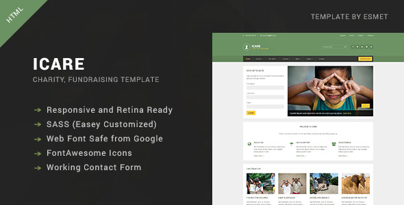 ICARE - Nonprofit, Fundraising HTML Template