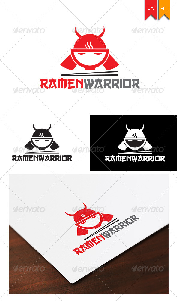 GraphicRiver Ramen Warior Logo 7998648