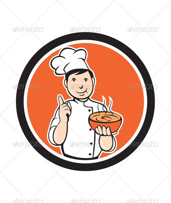 GraphicRiver Chef Cook Carrying Bowl Circle Cartoon 7998657