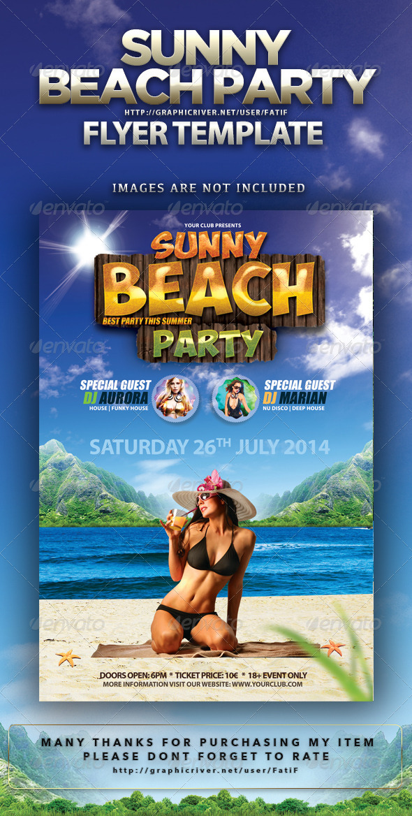 Sunny Beach Party Flyer Template - Events Flyers