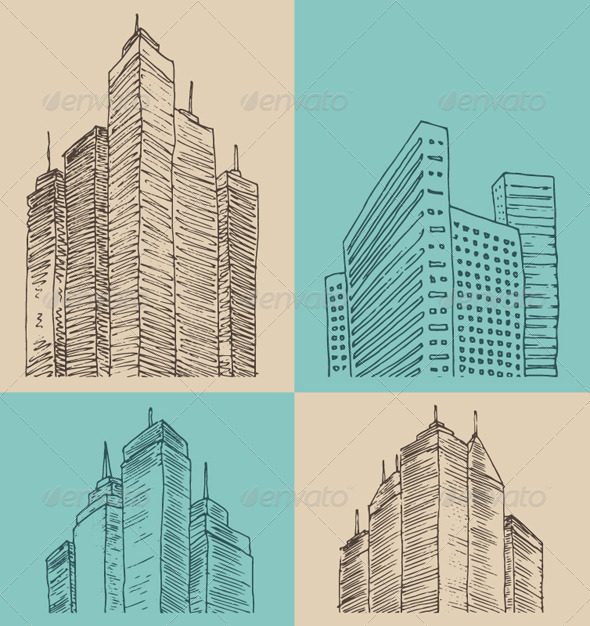 GraphicRiver City Architecture Vintage Engraved Illustration 7998999