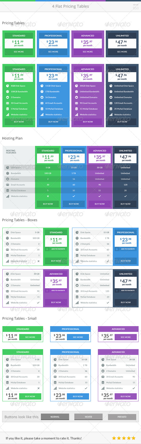 GraphicRiver Flat Pricing Tables 7974463