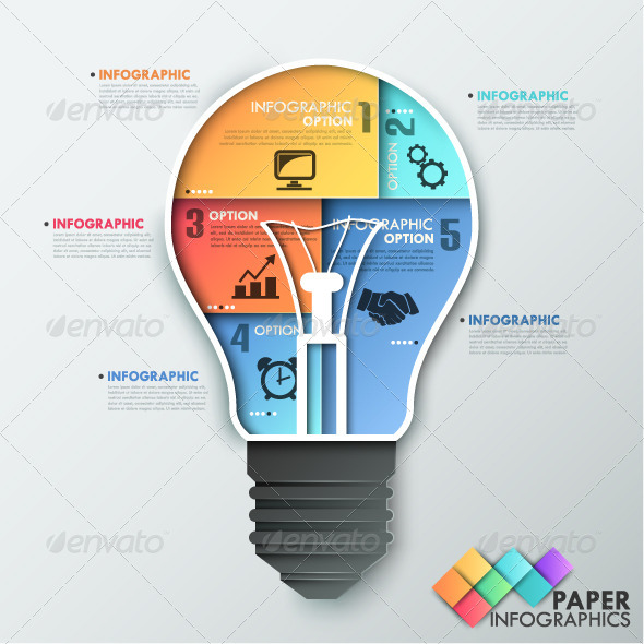 GraphicRiver Paper Infographic Template With Light Bulb 7999369