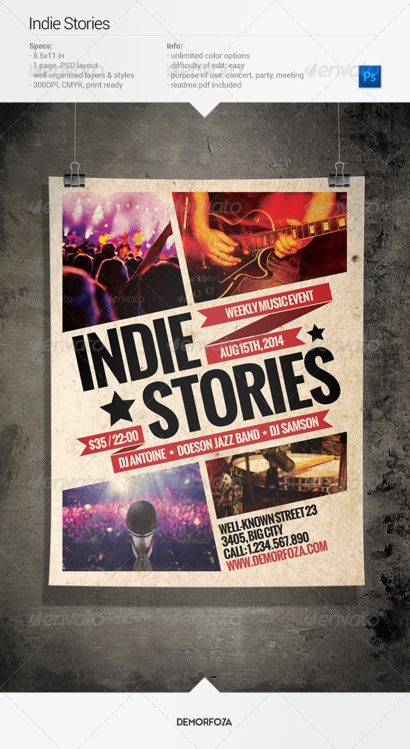 Indie Stories Party Flyer