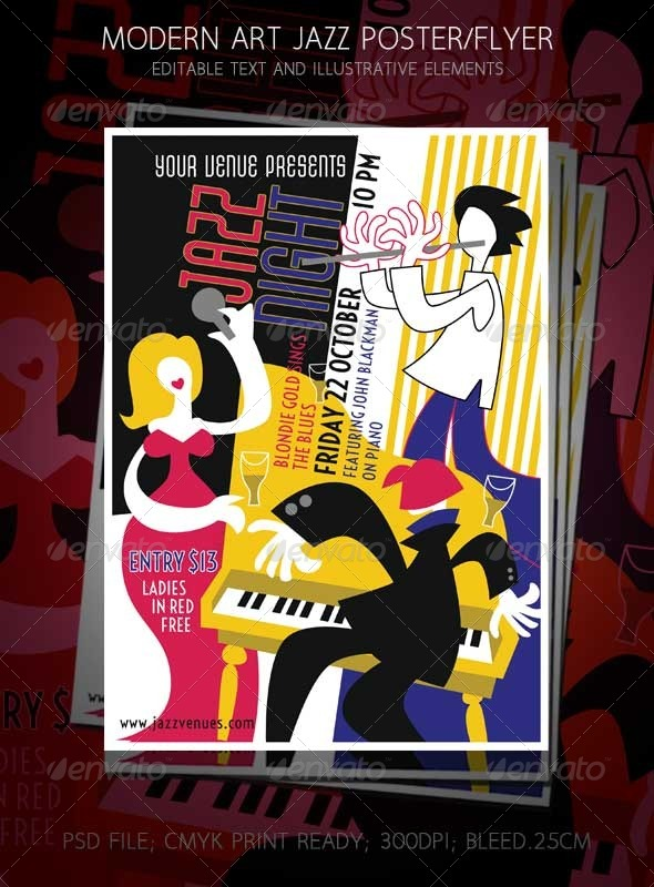 GraphicRiver Jazz Night Music Concert Modern Art Design 7999766