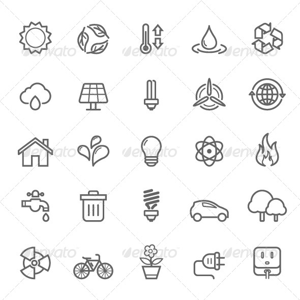 GraphicRiver 25 Outline Stroke Ecology Icons 7999889