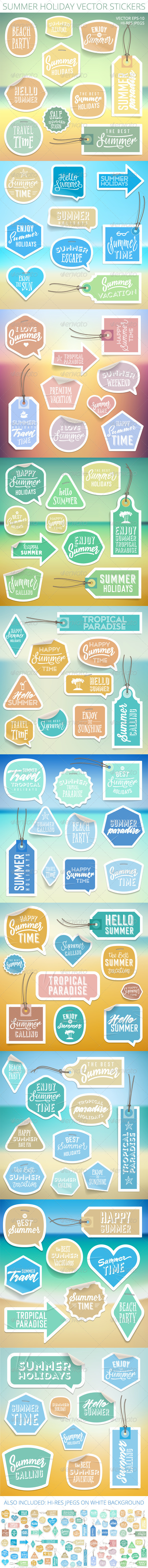 GraphicRiver Summer Holiday Vacation Stickers and Labels 8000028