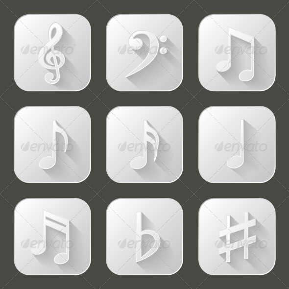 GraphicRiver Music Notes Set of Icons with Long Shadow 8000094