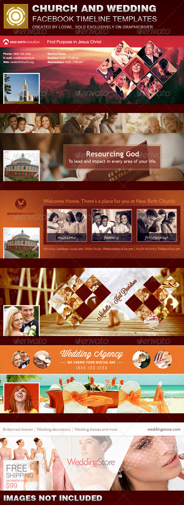 GraphicRiver Bundle Church and Wedding Facebook Timeline Templates 8000279