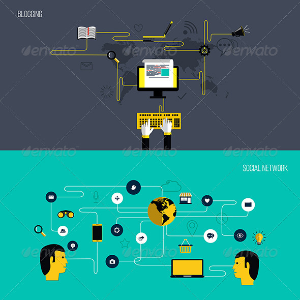 GraphicRiver Blogging and Social Network Elements 8000759
