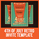 4th of July Retro BBQ Flyer Template - GraphicRiver Item for Sale