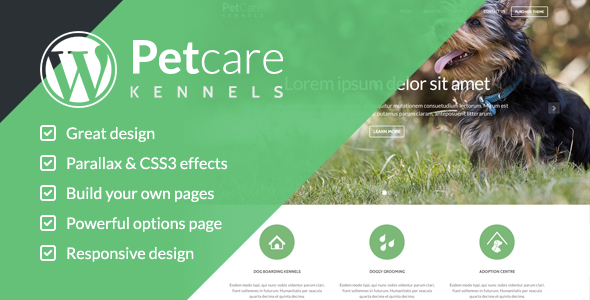 Pet Care Dog Kennels Wordpress Themes - Business Corporate