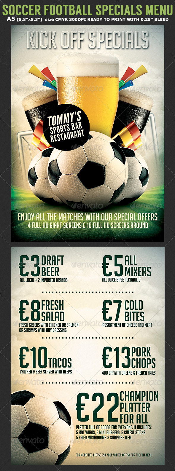 Soccer Football Bar Flyer Menu Template - Sports Events