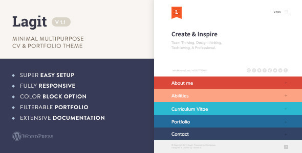 Lagit - Minimal Multipurpose CV & Portfolio Theme - Creative WordPress