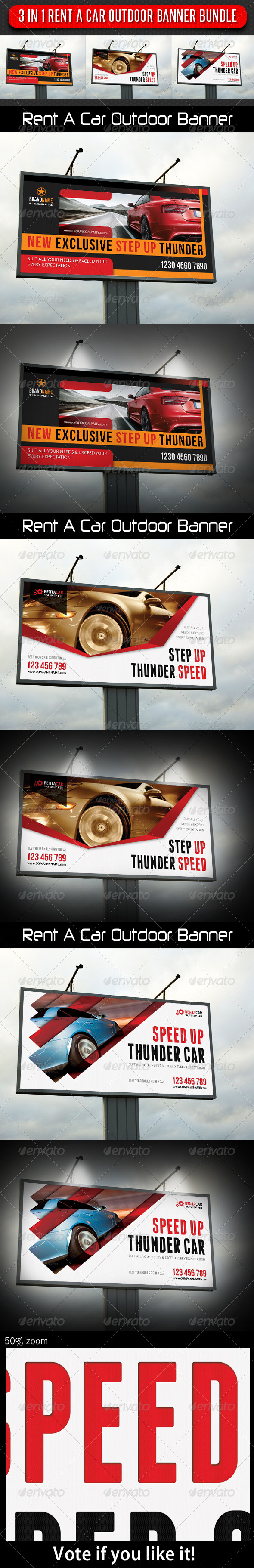GraphicRiver 3 in 1 Rent A Car Outdoor Banner Bundle 03 7990928