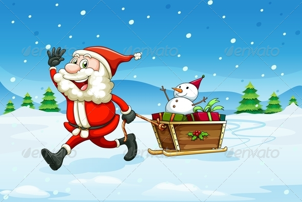 Cheerful Santa with Wooden Sleigh