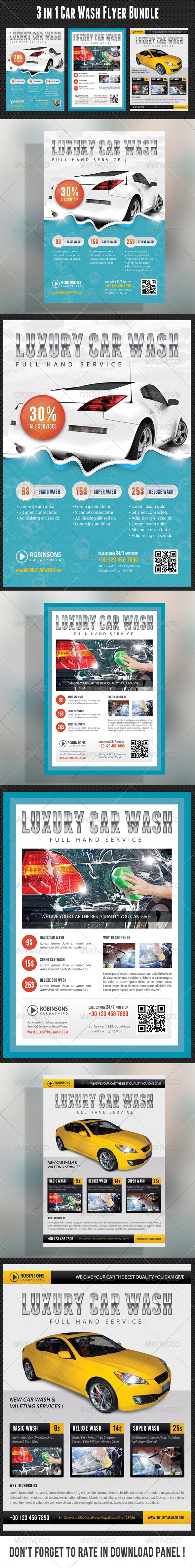 GraphicRiver 3 in 1 Car Wash Flyers Bundle 01 8002358