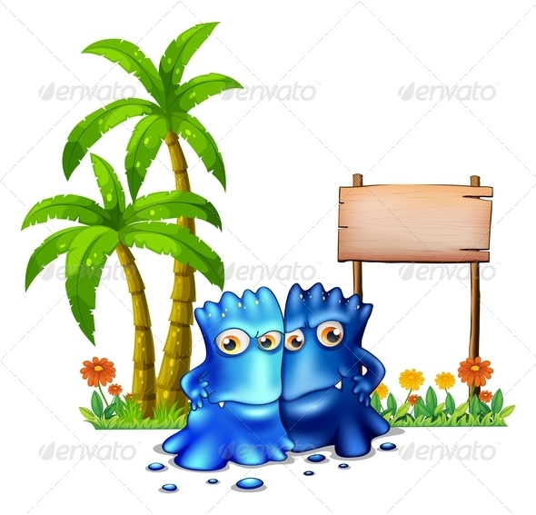 GraphicRiver Two Blue Monsters with Empty Sign 8002359