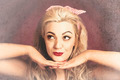 Vintage face of nostalgia. Retro blond 1940s girl - PhotoDune Item for Sale