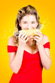 Retro pinup girl eating GMO free corn cob - PhotoDune Item for Sale