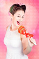 MC female pin up singing with lollipop microphone - PhotoDune Item for Sale
