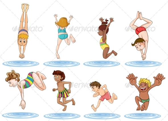 GraphicRiver Different kids enjoying the water 8002361