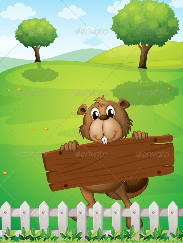 GraphicRiver Beaver with Empty Wooden Board 8002362