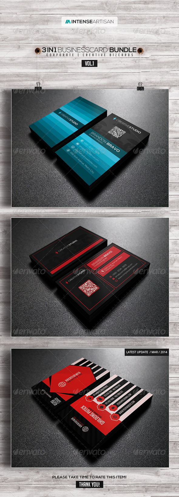 GraphicRiver 3in1-Business Card Bundle V.1 8002584