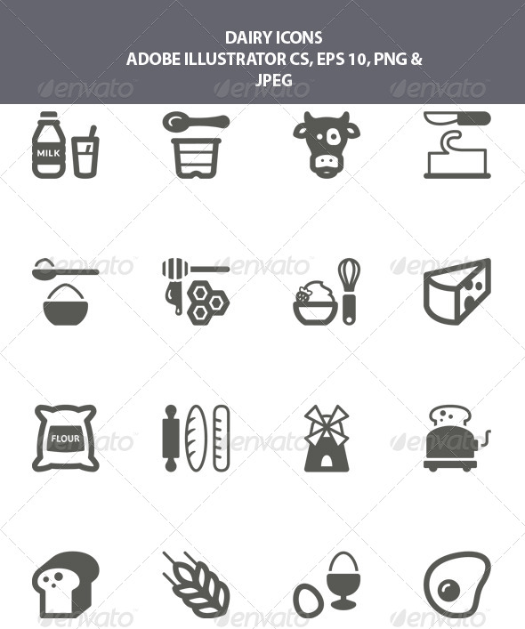 GraphicRiver Dairy Icons 8002672