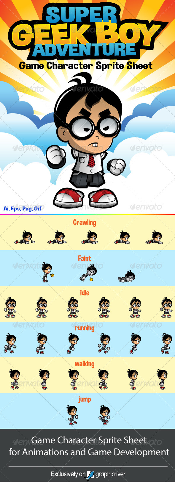 GraphicRiver Side Scrolling Game Character Geek Boy Adventure 8002746
