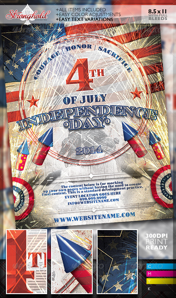 GraphicRiver Vintage 4th of July Event Flyer Template 8002831