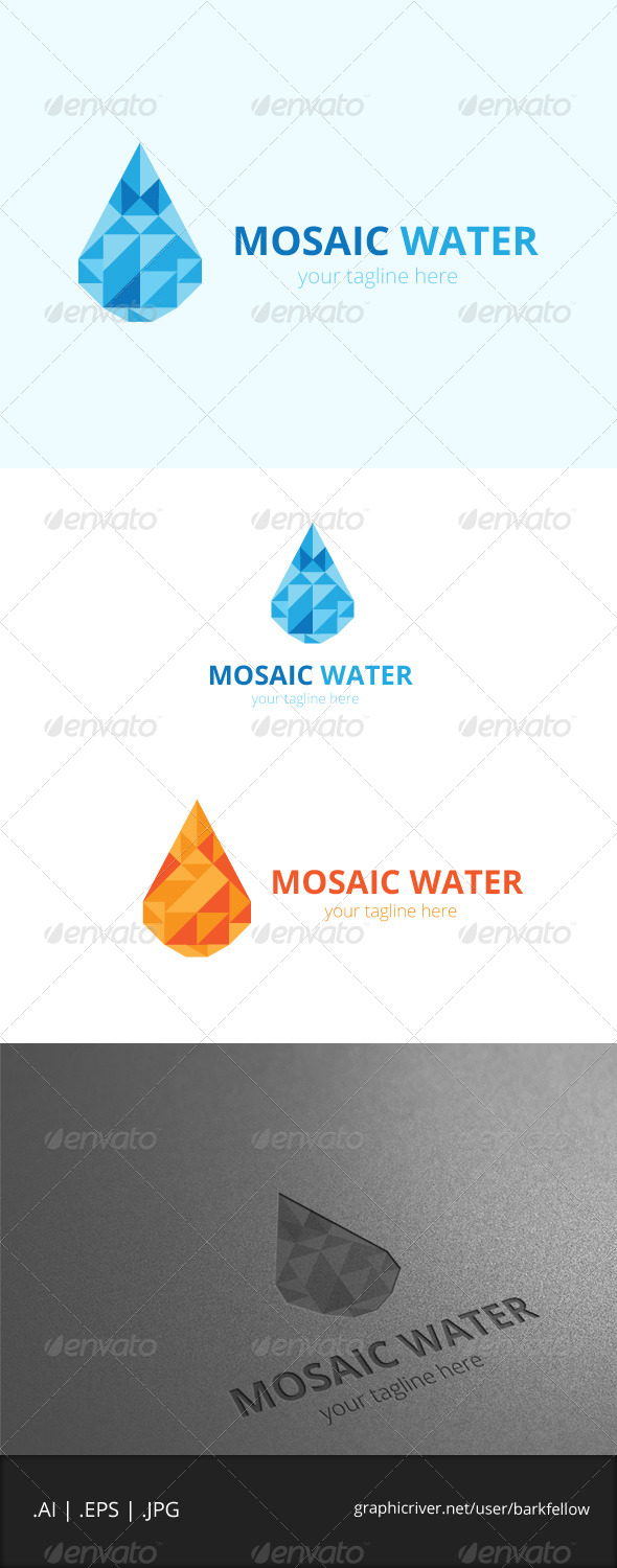 GraphicRiver Mosaic Fresh Blue Water Logo 8002905