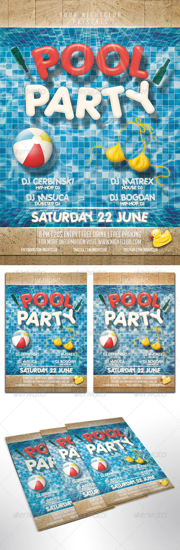 GraphicRiver Pool Party Flyer 7991783
