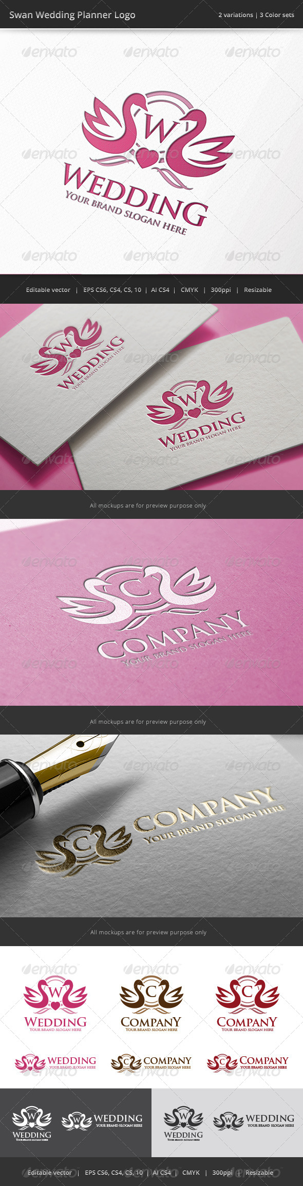 GraphicRiver Swan Wedding Letter Crest Logo 8003143