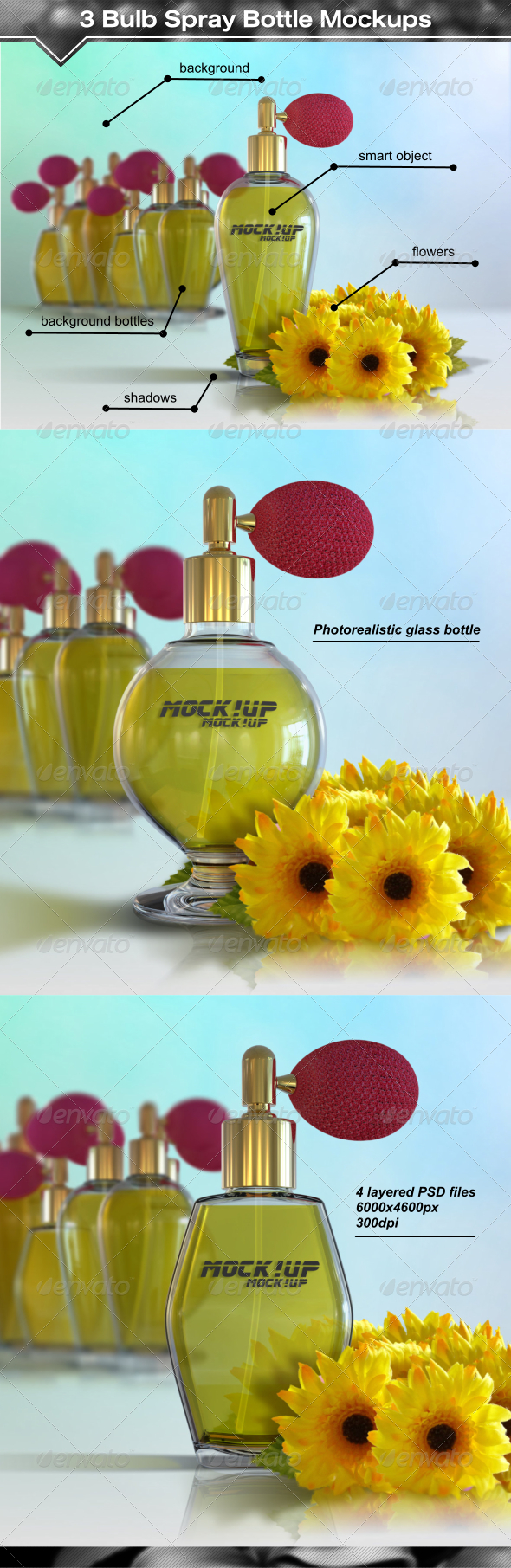 GraphicRiver 3 Antique Style Bulb Spray Bottle Mockups 8003494