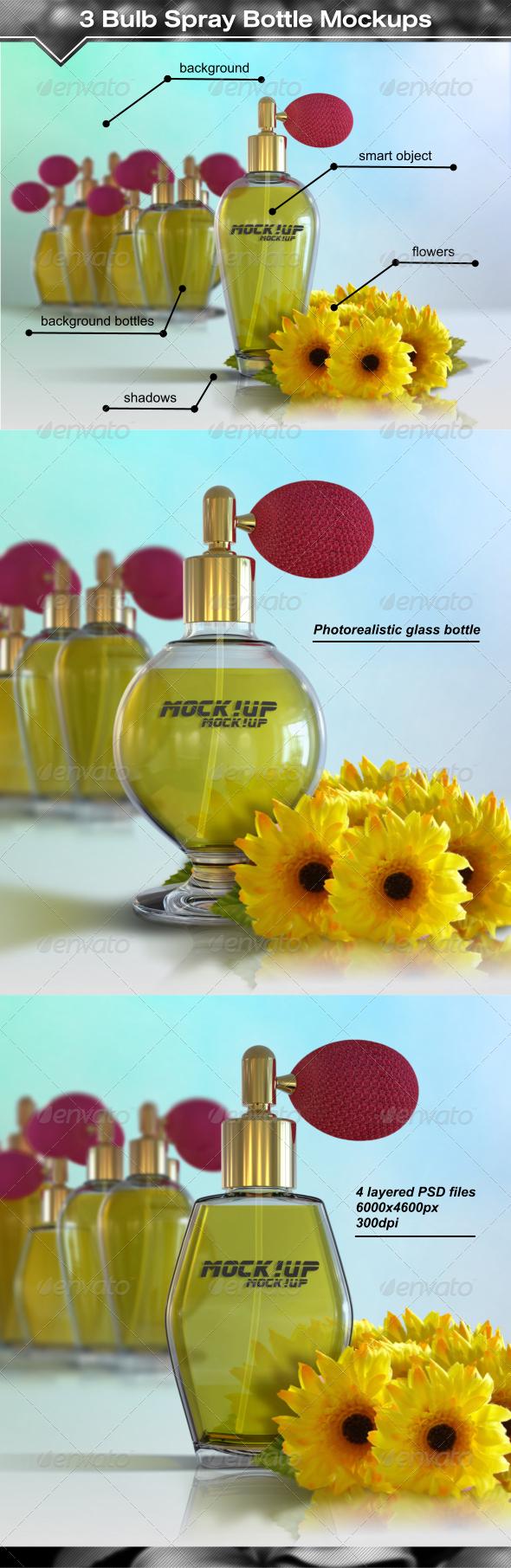 GraphicRiver 3 Antique Style Bulb Spray Bottle Mockups 8003494